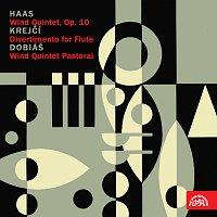 Přední strana obalu CD Haas, Krejčí, Dobiáš: Dechový kvintet, op. 10, Divertimento pro flétnu, Dechový kvintet Pastorální