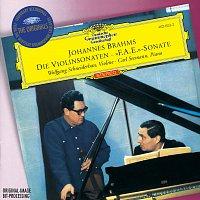 """Přední strana obalu CD Brahms: Violin Sonatas Opp.78, 100 & 108; Scherzo from """"F.A.E"""" -Sonata"""