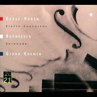 "Přední strana obalu CD Glass: Violin Concerto / Rorem: Violin Concerto (1984) / Bernstein: Serenade After Plato's ""Symposium"" (1954) For Solo Violin, String Orchestra, Harp And Percussion"