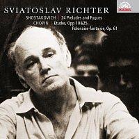 Přední strana obalu CD Šostakovič: 24 preludií a fug, op. 87 - Chopin: Etudy opp 10 & 25 (výběr), Polonéza - Fantazie, op. 61. Russian Masters