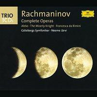 Přední strana obalu CD Rachmaninov: The Operas (Aleko; The Miserly Knight; Francesca da Rimini)