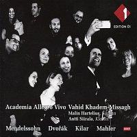 Přední strana obalu CD Academia Allegro Vivo: Mendelssohn, Dvorak, Kilar, Mahler