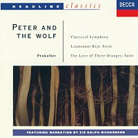 Sir Ralph Richardson, Sir Adrian Boult, Sir Malcolm Sargent, Walter Weller – Prokofiev: Peter and the Wolf; Symphony No.1; Lieutenant Kijé Suite; The Love for Three Oranges Suite