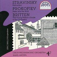 Přední strana obalu CD Stravinskij, Prokofjev, Britten: Petruška - Péťa a vlk - Průvodce mladého člověka orchestrem
